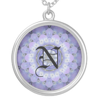 Lavender Floral Initial Round Pendant Necklace