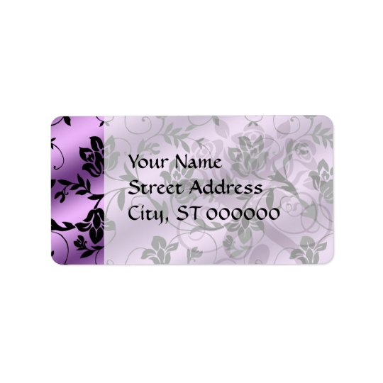 lavender floral satin floral damask address label