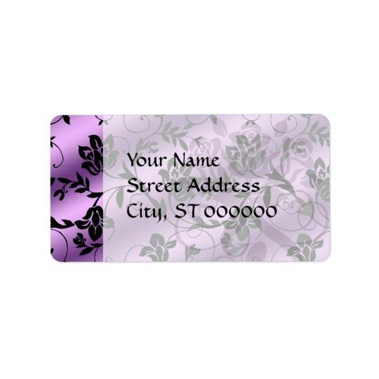lavender floral satin floral damask label