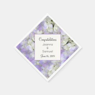 Lavender Floral Wedding Reception Angled Napkin Disposable Serviette
