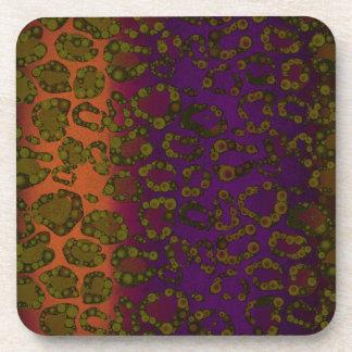 Lavender Florescent Pink Cheetah Print Drink Coasters
