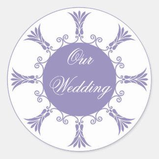 Lavender Flourish Design-Our Wedding Round Stickers