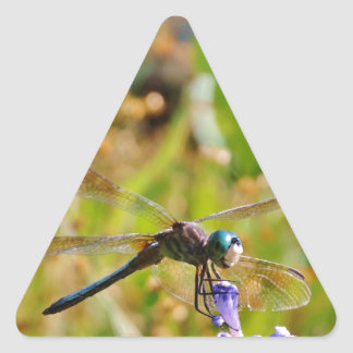 Lavender flower dragonfly triangle sticker
