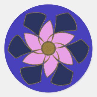Lavender Flower Mandala Round Sticker