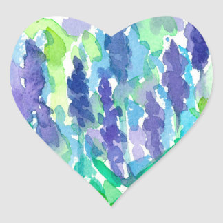 Lavender Flower Watercolor Heart Sticker