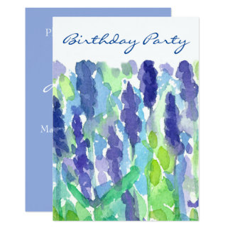 Lavender Flowers 50th Birthday Party Invitation