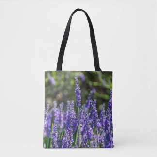 Lavender flowers all-over-print tote bag