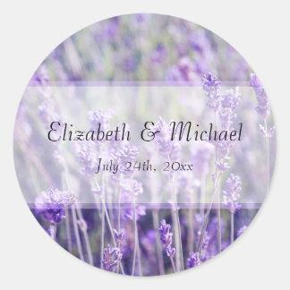 Lavender Flowers Wedding Favor Label Classic Round Sticker