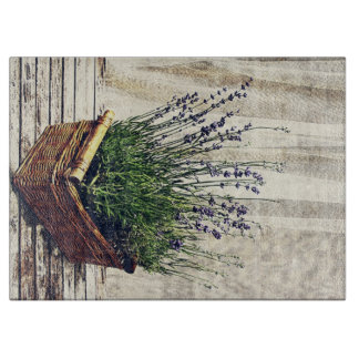 lavender fragrant flowers in a basket cutting board
