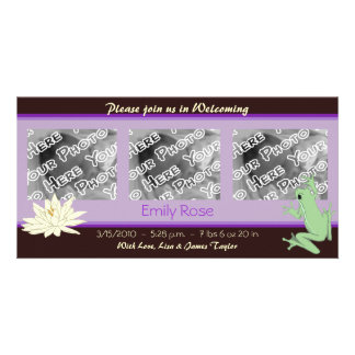 Lavender Frog and Lotus Birth Announcements Card