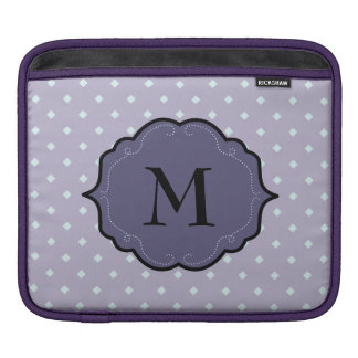 Lavender Geometric Dots Purple Monogram Banner Sleeves For iPads