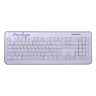 Lavender Gingham Pattern Add Your Name Wireless Keyboard
