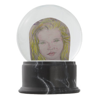 lavender girl snow globe