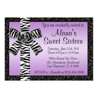 Lavender Glitter Invite With Zebra Print Bow