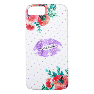 Lavender Glitter Kiss & Pink Flower Accent iPhone 8/7 Case