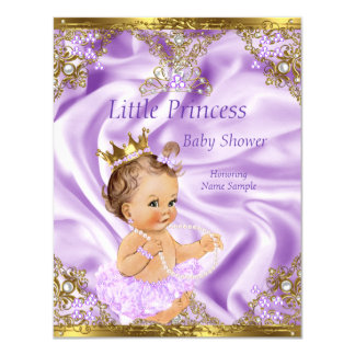 Lavender Gold Princess Baby Shower Brunette Girl 11 Cm X 14 Cm Invitation Card