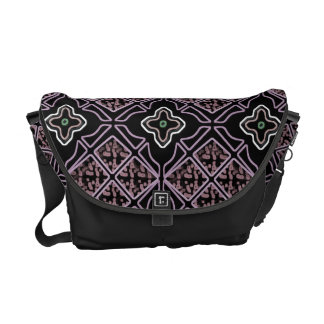 Lavender Gothic Diamond & Floral Messenger Bag