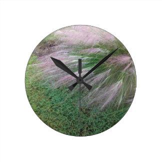 Lavender Grass Round Clock