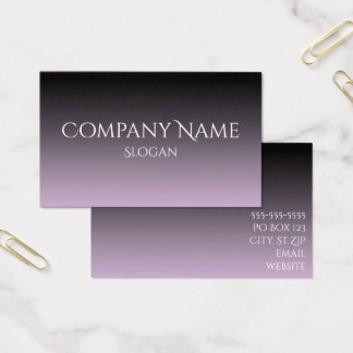 Lavender Gray and Black Ombre Business Card