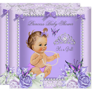 Lavender Gray Baby Shower Girl Brunette Card