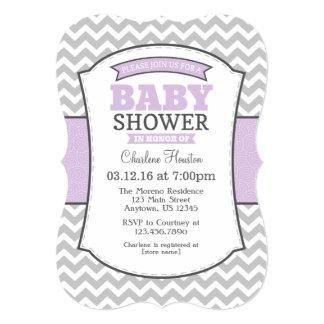 Lavender Gray Chevron Baby Shower Invitation