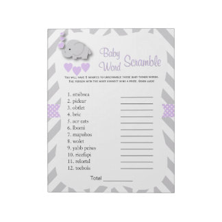 Lavender & Gray Elephant Baby Shower Word Game Notepad