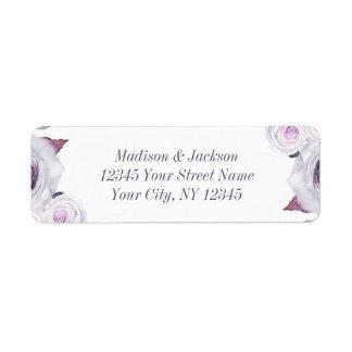 Lavender & Gray Floral Wedding Return Address Return Address Label