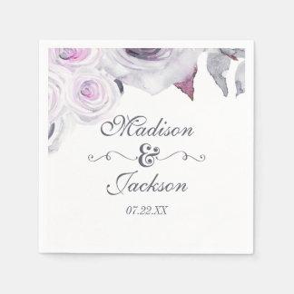 Lavender & Gray Floral Wreath Monogram Wedding Disposable Serviettes