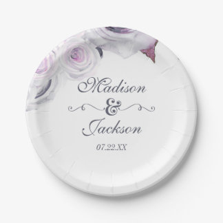 Lavender & Gray Floral Wreath Wedding Monogram Paper Plate