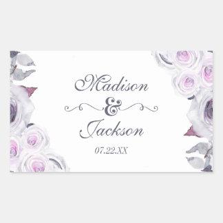 Lavender & Gray Floral Wreath Wedding Monogram Rectangular Sticker