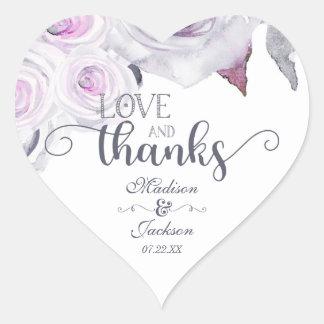 Lavender & Gray Wedding Love & Thanks Favor Heart Sticker