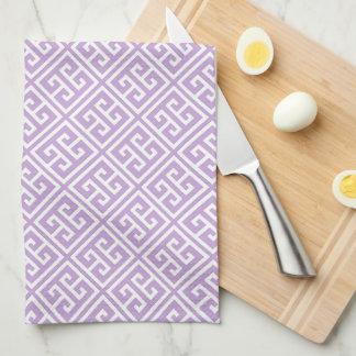 Lavender Greek Key Pattern Tea Towel