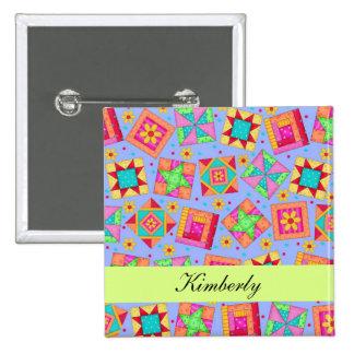 Lavender Green Patchwork Quilt Blocks Name Badge