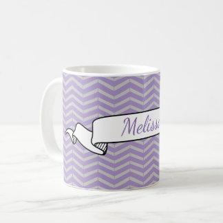 Lavender Grey Chevron Pattern Banner Name Template Coffee Mug