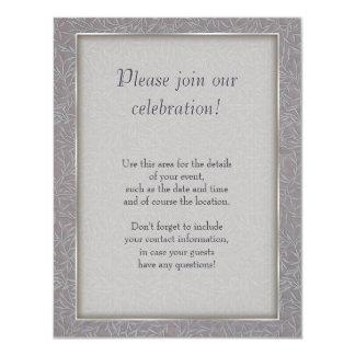 Lavender Grey Embossed Leaf Vines 4.25x5.5 Paper Invitation Card