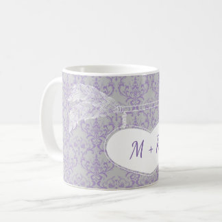 Lavender Grey Floral Arrow Heart Monogram Wedding Coffee Mug
