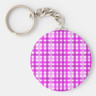Lavender Grid Basic Round Button Key Ring