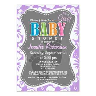 Lavender Hawaiian Tropical Hibiscus 11 Cm X 16 Cm Invitation Card