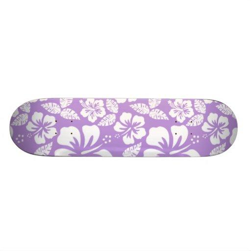 Lavender Hawaiian Tropical Hibiscus Skate Board Decks