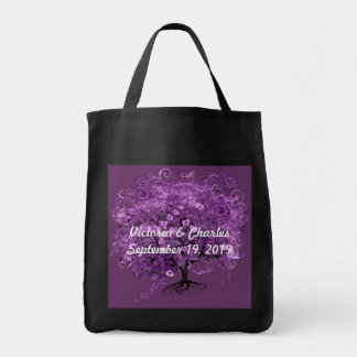 Lavender Heart Leaf Tree Wedding Grocery Tote Bag