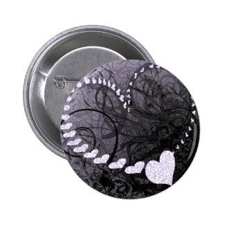 Lavender Heart Swirls 6 Cm Round Badge