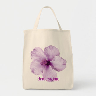 Lavender Hibiscus Flower Bridesmaid Tote Bag