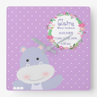 Lavender Hippo Ballerina Nursery room Birth Stats Square Wall Clock