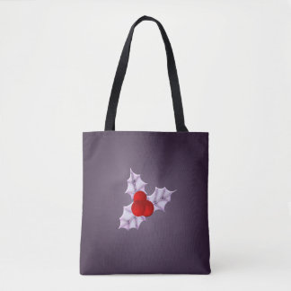 Lavender Holly Leaves Plum Glow Holiday Tote Bag