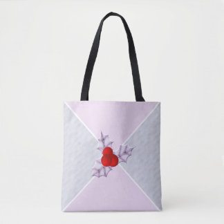 Lavender Holly Leaves Snow Holiday Tote Bag