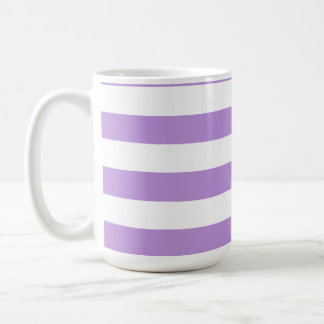 Lavender Horizontal Stripes; Striped Basic White Mug