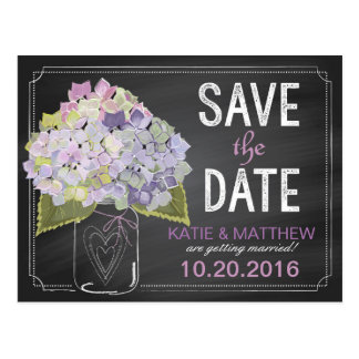Lavender Hydrangea Chalkboard Save the Date Postcard