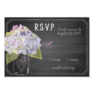 Lavender Hydrangeas Chalkboard RSVP Card