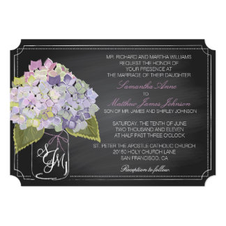Lavender Hydrangeas Chalkboard Rustic Wedding 13 Cm X 18 Cm Invitation Card