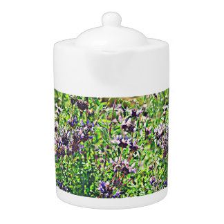 Lavender in Chrome Tea Pot